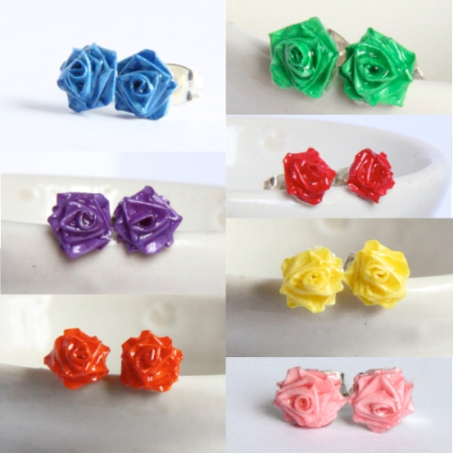 Tiny roses honeys quilling tiny rose post earrings mightylinksfo