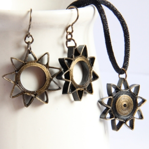 Baha'i nine pointed star handmade jewelry earrings necklace