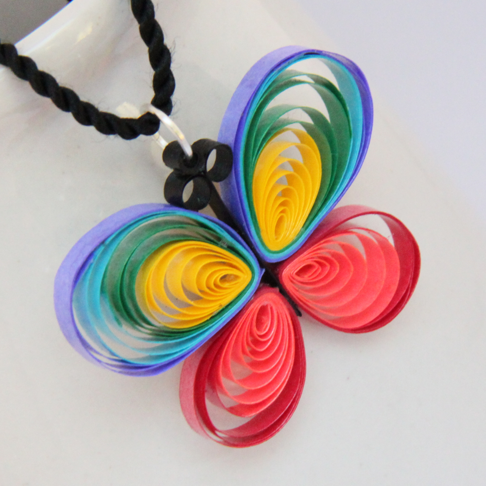 paper quilling butterfly necklace