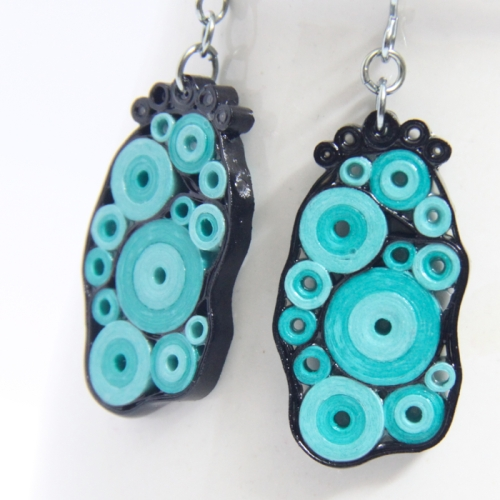 aqua and black modern paper jewelry