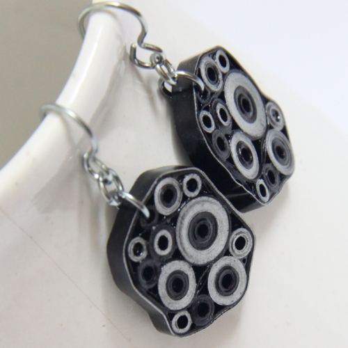 black and silver modern paper quilled earrings
