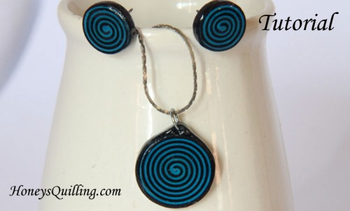 Make a Spiral Circle Paper Quilled Jewelry Set - Free Tutorial from Honey's Quilling